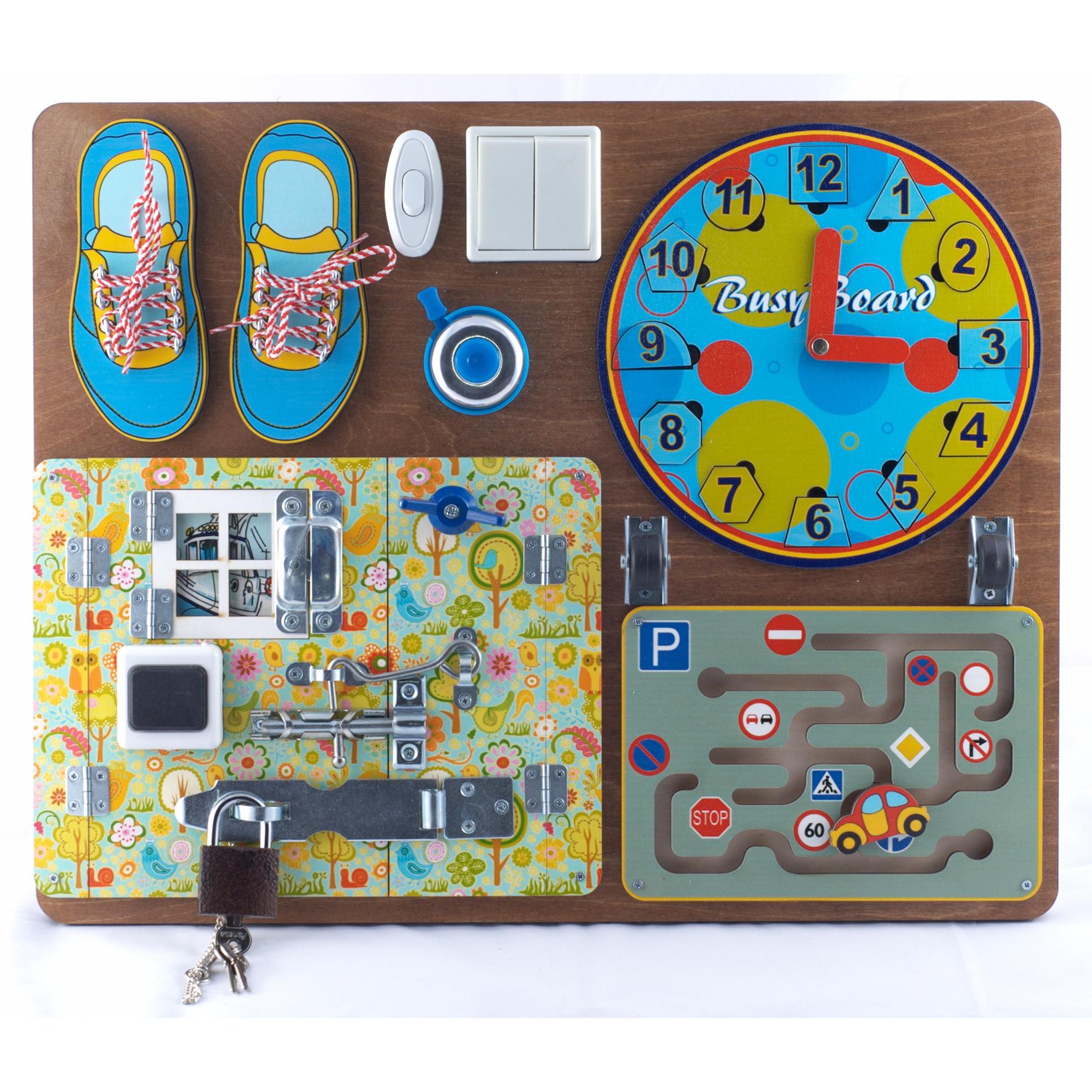 Бизиборд для мальчиков, пазлы, шнурки, магнитные часы, лабиринтРамки и паззлы<br>Бизиборд для мальчиков, пазлы, шнурки, магнитные часы, лабиринт<br>