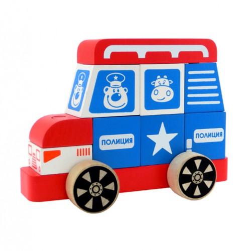 Конструктор-каталка Полицейская машина, большаяДеревянный конструктор<br>Конструктор-каталка Полицейская машина, большая<br>