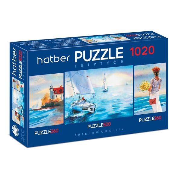 Купить Пазл Premium 260+500+260 элементов Triptych 3 картинки в 1 коробке – Акварель, размер 22 х 33 и 46 х 34 см, Hatber