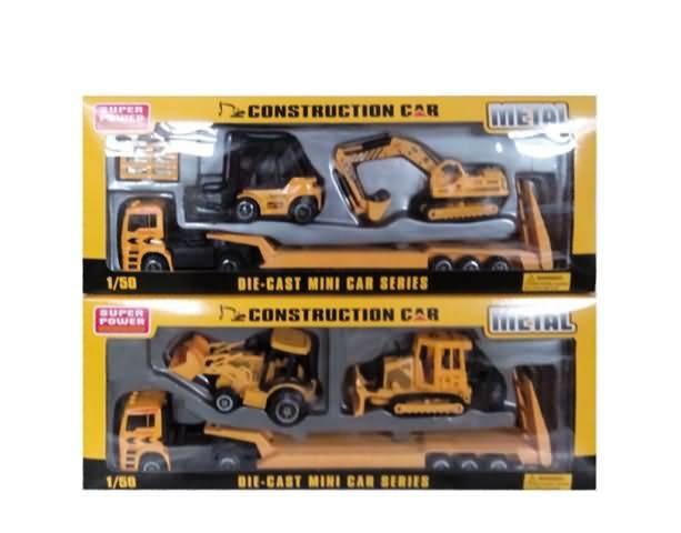 Купить Автовоз металлический в наборе со 2 строительными машинами, 2 вида, с аксессуарами, JUNFA TOYS