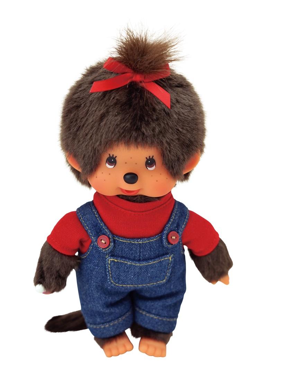 Девочка Мончичи в комбинезоне и красной футболке, 20 см фото