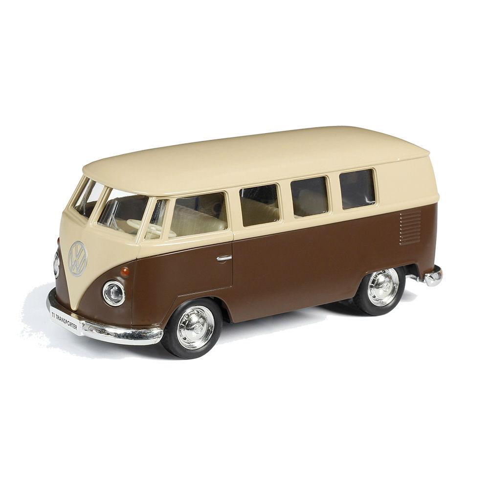 Купить Автобус инерционный металлический Volkswagen Type 2 T1 Transporter, цвет матовый бежевый с коричневым, 1:32 ), RMZ City