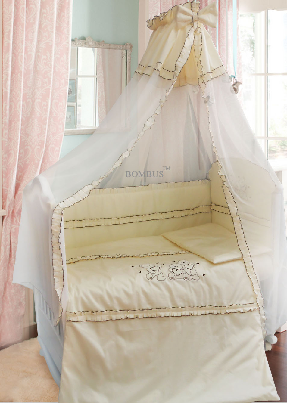 Комплект в кроватку - Три медведя, 7 предметов, бежевыйДетское постельное белье<br>Комплект в кроватку - Три медведя, 7 предметов, бежевый<br>