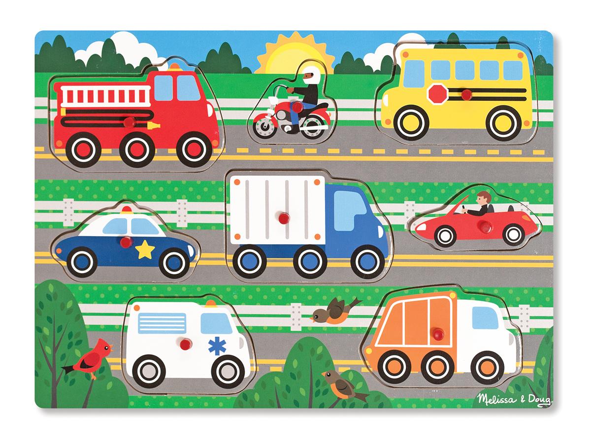 Мои первые пазлы – Транспорт, 8 деталей с кнопкамиПазлы для малышей<br>Мои первые пазлы – Транспорт, 8 деталей с кнопками<br>
