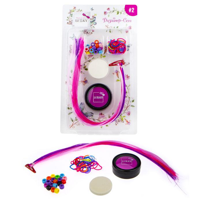 Купить Дизайнер-Сет №2: набор для дизайна волос с розовой пудрой, 3 цвета прядей на заколке, резинки 25 штук, бусины 25 штук, спонж, 1TOY