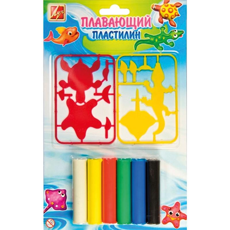 Пластилин плавающий с пластиковыми деталями, 6 цветов