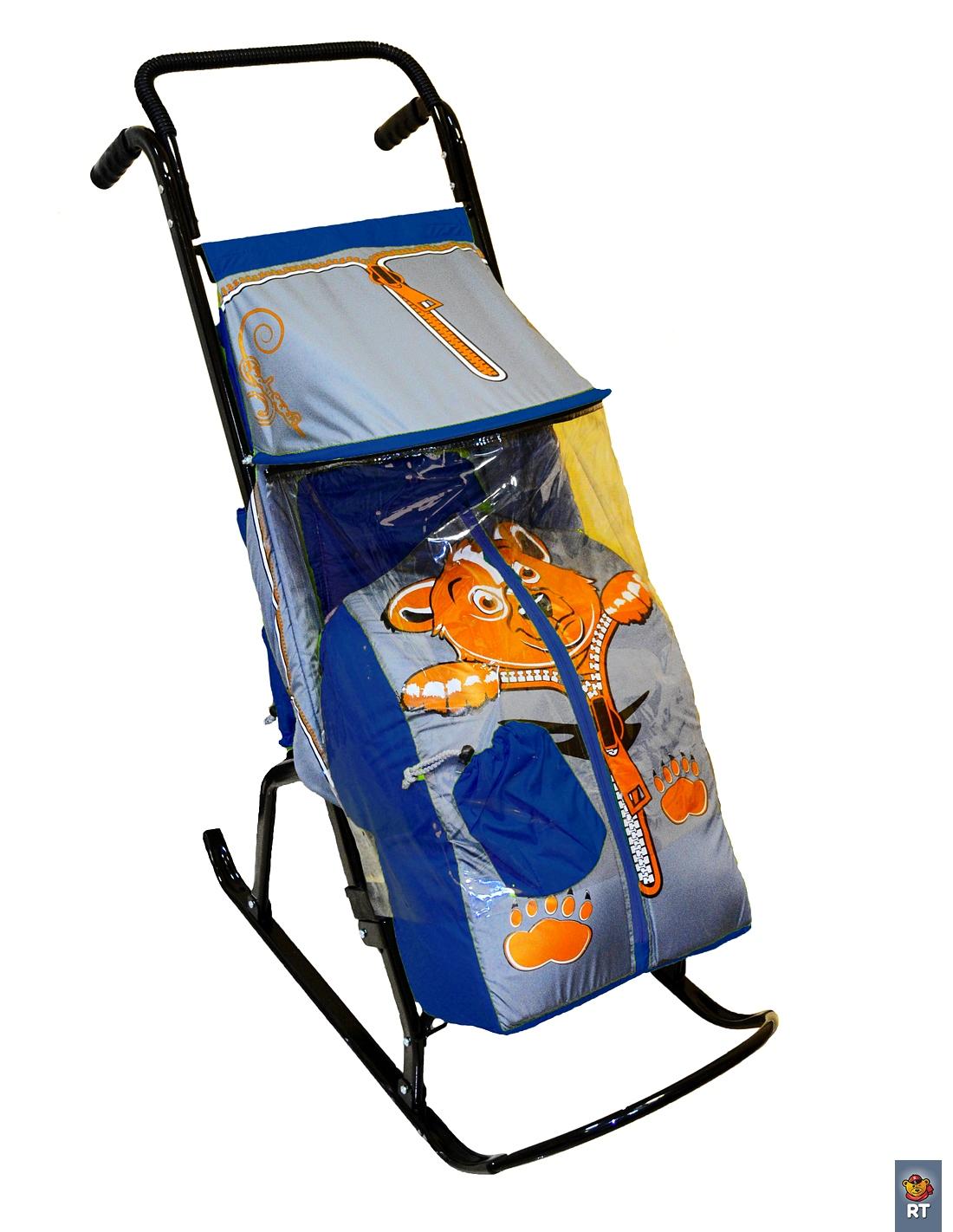 Санки-коляска Снегурочка-2-Р Медвежонок, цвет синий-серыйСанки и сани-коляски<br>Санки-коляска Снегурочка-2-Р Медвежонок, цвет синий-серый<br>