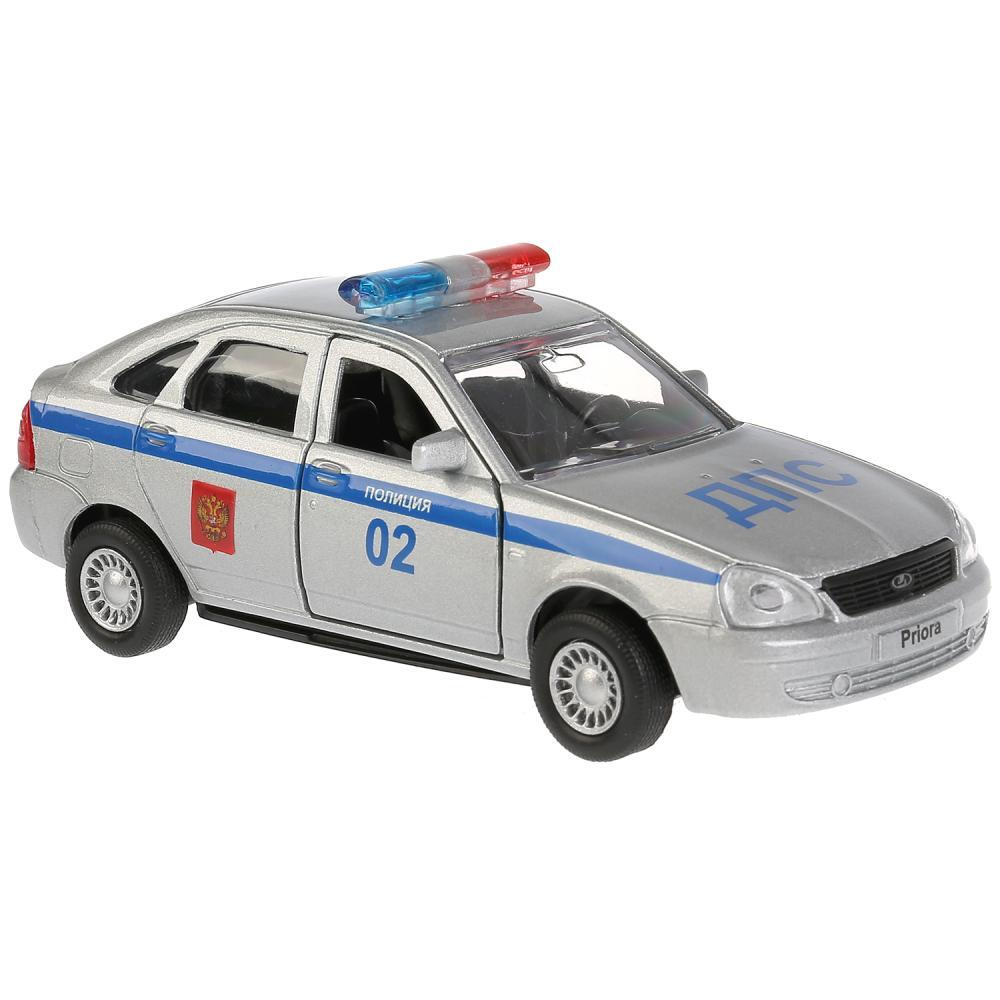 Купить Машина металлическая Lada Priora хэтчбек Полиция 12 см, открываются двери, инерционная WB), Технопарк