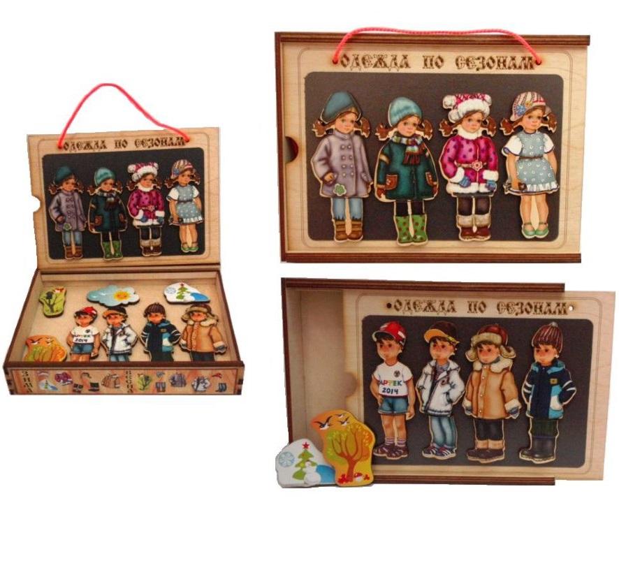Игровой набор из дерева - Одежда по сезонам, на магнитахРамки и паззлы<br>Игровой набор из дерева - Одежда по сезонам, на магнитах<br>