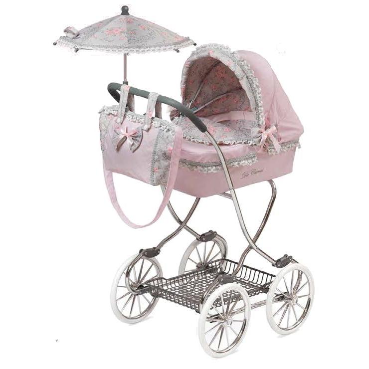 Коляска с сумкой и зонтом  Романтик, розовая, 90 см - Коляски для кукол, артикул: 166725
