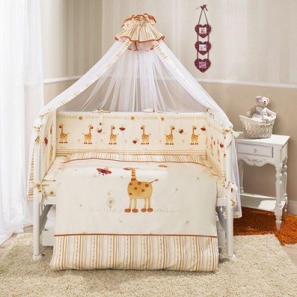 Комплект постельного белья Кроха, жирафикиДетское постельное белье<br>Комплект постельного белья Кроха, жирафики<br>