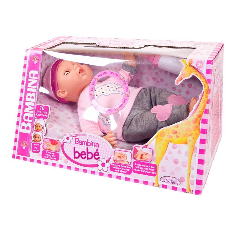 Кукла из серии Bambina Bebe, 40 см., с живой мимикой и звуковыми эффектами, DIMIAN  - купить со скидкой