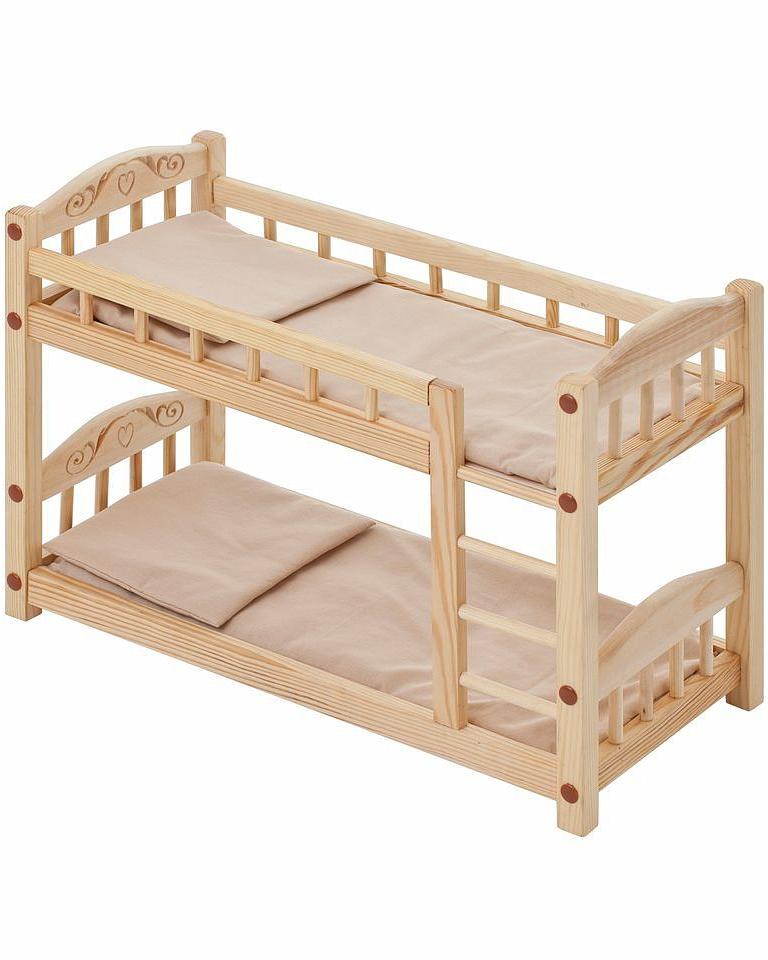 Двухъярусная кукольная кроватка из дерева с бежевым текстилемДетские кроватки для кукол<br>Двухъярусная кукольная кроватка из дерева с бежевым текстилем<br>