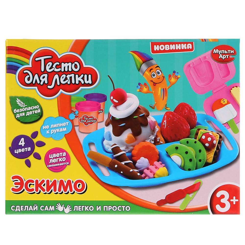 Купить Набор теста для лепки Эскимо, 4 цвета теста 35 гр, формы для эскимо, аксессуары ), Multiart
