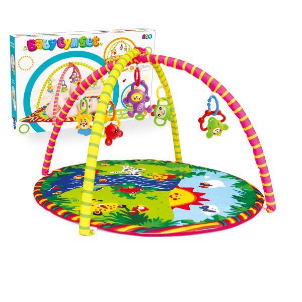 Детский игровой коврик круглый с погремушками на подвескеДетские развивающие коврики для новорожденных<br>Детский игровой коврик круглый с погремушками на подвеске<br>