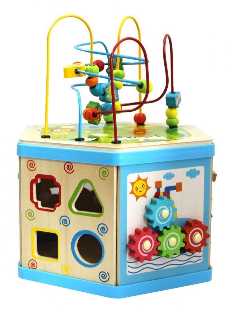 Купить Деревянный куб-лабиринт 7 в 1, База игрушек