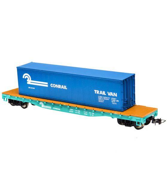 Вагон-платформа со съемным контейнером Mehano ConrailДетская железная дорога<br>Вагон-платформа со съемным контейнером Mehano Conrail<br>