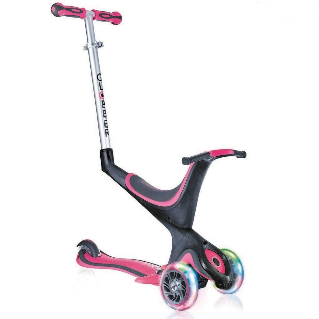 Самокат Evo 5 в 1 с 3 светящимися колесами, PinkТрехколесные самокаты<br>Самокат Evo 5 в 1 с 3 светящимися колесами, Pink<br>