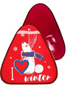 Купить Сани-ледянка треугольная – Зайчик, красный, 42х48 см, RT