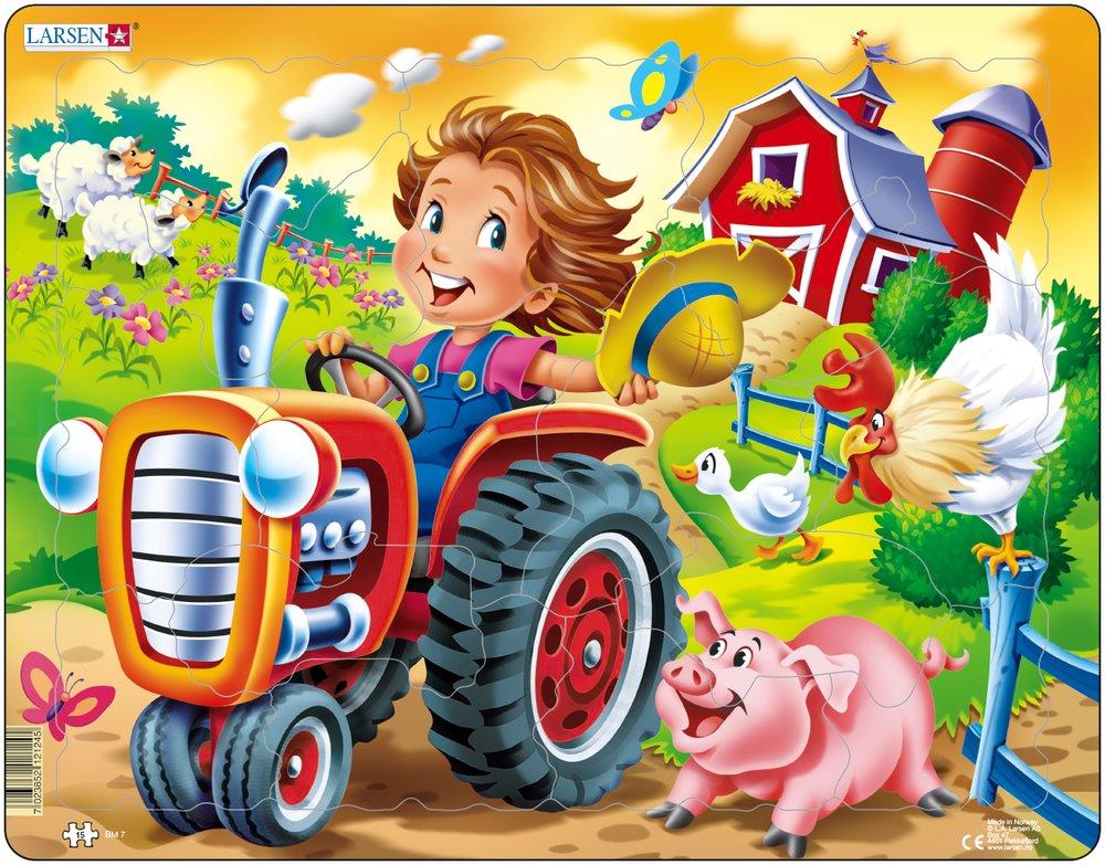 картинка Пазл – Фермер на тракторе, 15 элементов от магазина Bebikam.ru