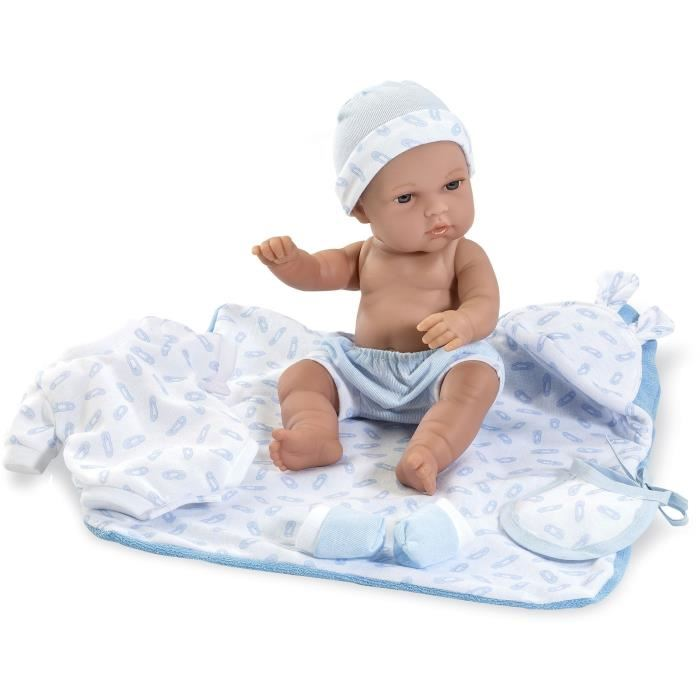 Купить Виниловая кукла Elegance с одеждой, пинетками, голубым одеяльцем, 33 см, Arias