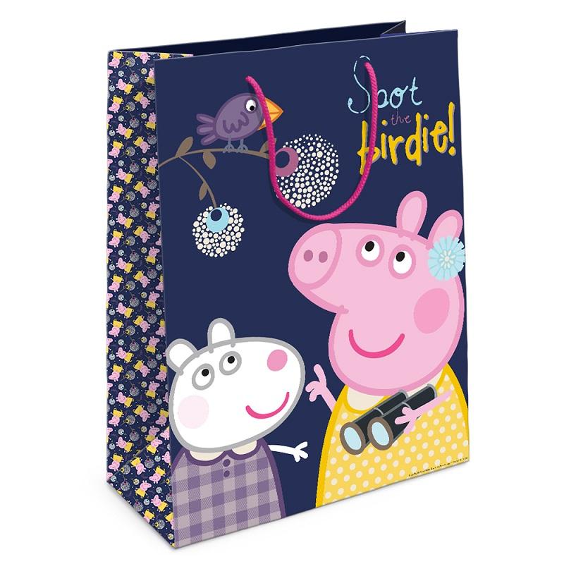 Пакет подарочный - Пеппа и птица, 25 х 9 х 35 см.Свинка Пеппа Peppa Pig<br>Пакет подарочный - Пеппа и птица, 25 х 9 х 35 см.<br>