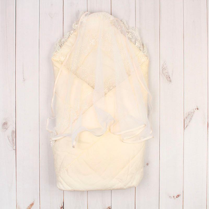Конверт-одеяло на выписку летний, сатин-жаккард, молочный