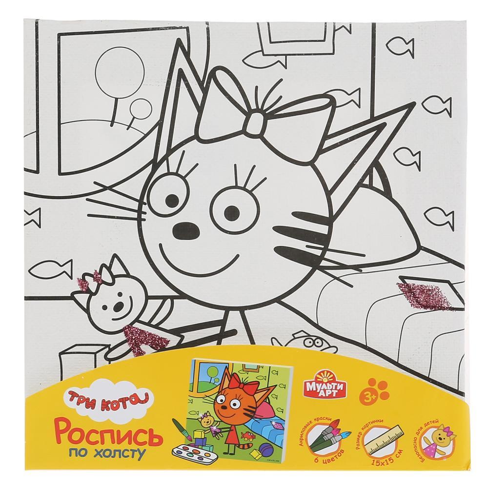 Купить Набор для творчества Холст для росписи Три кота. Карамелька с игрушкой, с глиттером, 15 х 15 см, Multiart