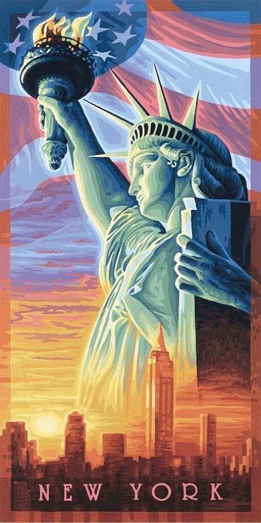 Statue of Liberty - Статуя Свободы, 40*80 смРаскраски по номерам Schipper<br>Тем, кто уже знаком с раскрасками по номерам schipper, не составляет труда создавать картины собственными руками. Им по силам нарисовать даже Статую Свободы! Ведь техника рисования и раскрашивания schipper весьма проста. На заранее определенные производит...<br>