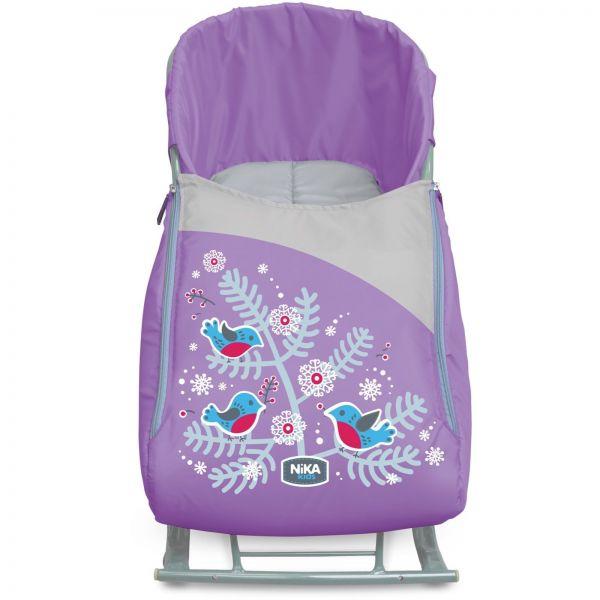 Сиденье с чехлом для ног с рисунком – Снегири, цвет лавандаМатрасики, муфты, чехлы в санки<br>Сиденье с чехлом для ног с рисунком – Снегири, цвет лаванда<br>