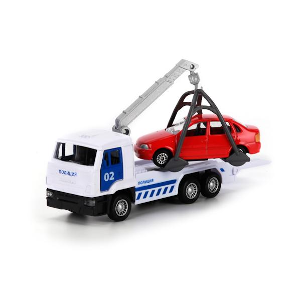Купить Металлическая инерционная машина – Камаз - Эвакуатор Полиция, 12 см с машинкой, Технопарк