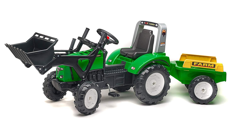 Трактор-экскаватор педальный с прицепом зеленый 195 см.