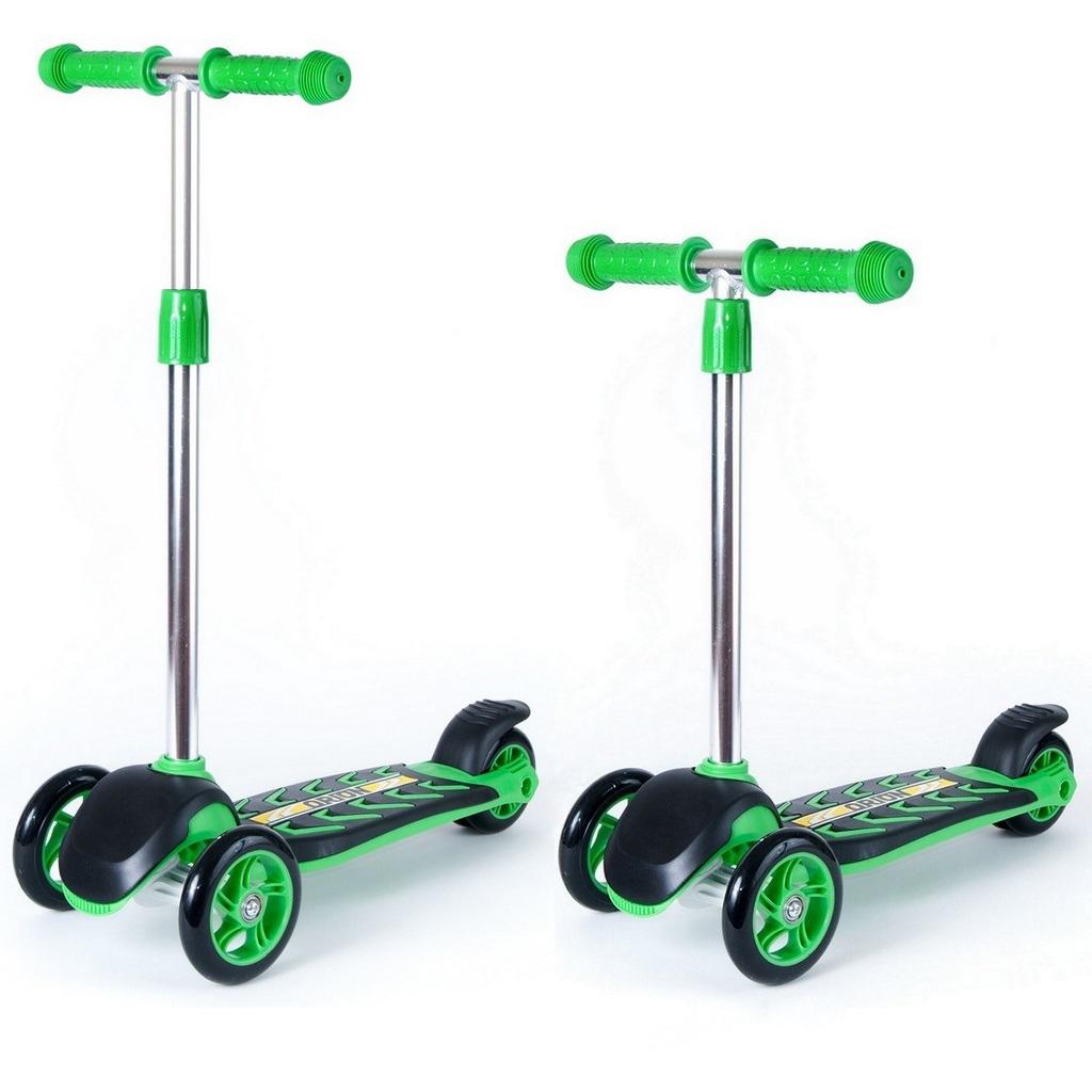 Купить Детский трехколесный самокат RT ORION MIDI 164A, черно-зеленый