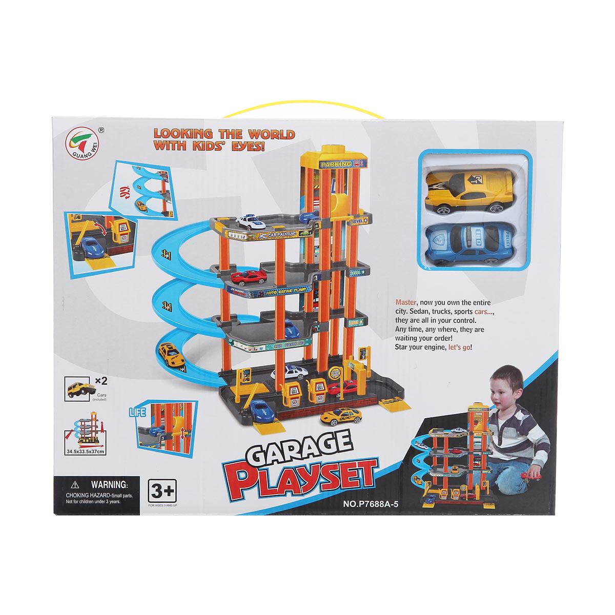 Игровой набор – Четырёхуровневый гараж с машинками - Детские парковки и гаражи, артикул: 161388