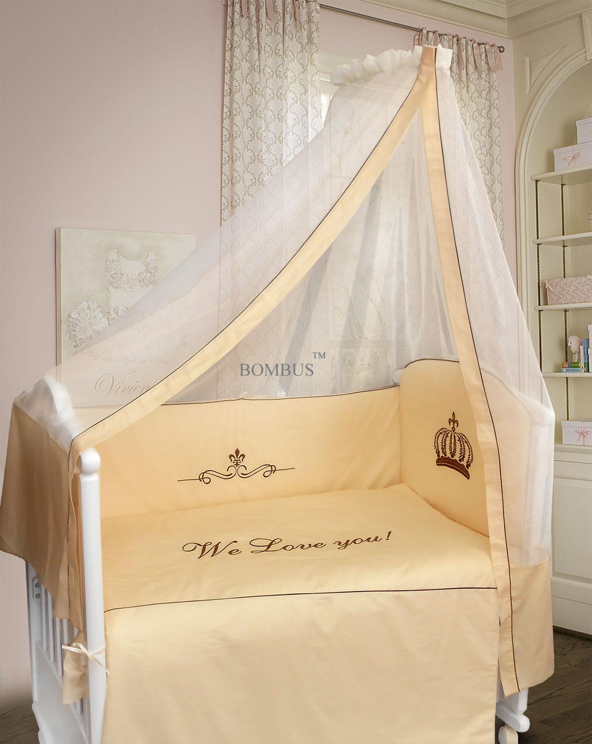 Комплект в кроватку - Сонное царство, 7 предметов, бежевыйДетское постельное белье<br>Комплект в кроватку - Сонное царство, 7 предметов, бежевый<br>