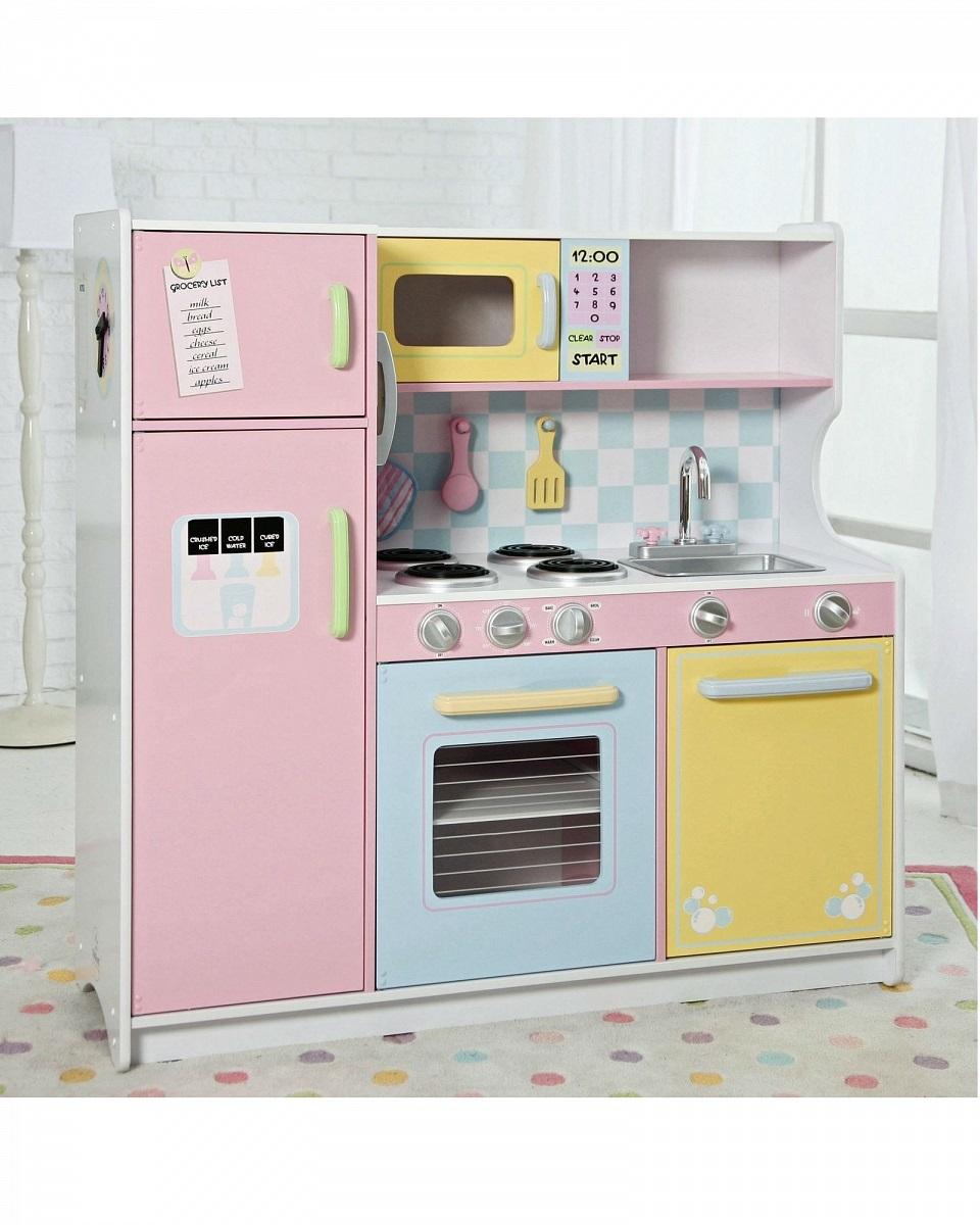 Большая детская кухня из дерева  Пастель - Детские игровые кухни, артикул: 160522