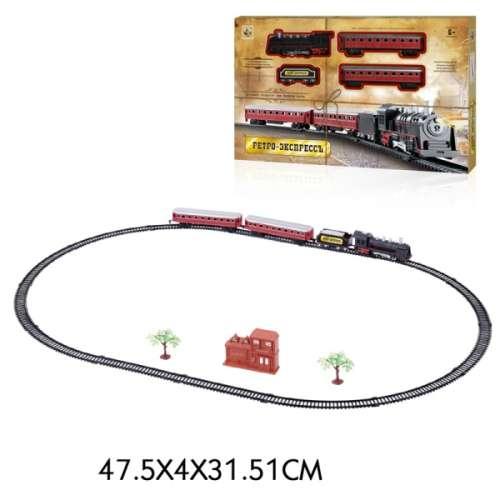 Железная дорога Ретро Экспресс, свет и звук, паровоз, 3 вагона, 21 деталь 1TOY