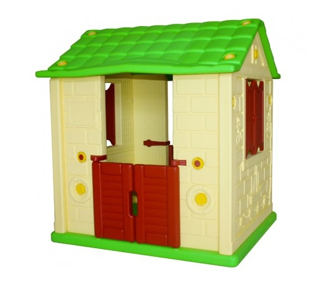 Игровой домик для детей Королевский с 2 окнами и 2 дверями, желтыйПластиковые домики для дачи<br>Игровой домик для детей Королевский с 2 окнами и 2 дверями, желтый<br>