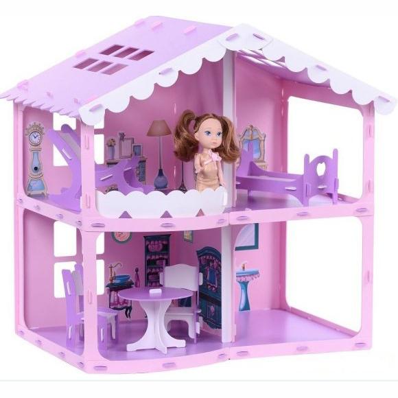 Домик с мебелью для кукол - Анжелика, розово-сиреневый