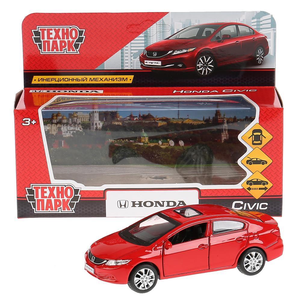 Купить Машина металлическая Honda Civic, длина 12 см, открываются двери, инерционная, цвет красный, Технопарк