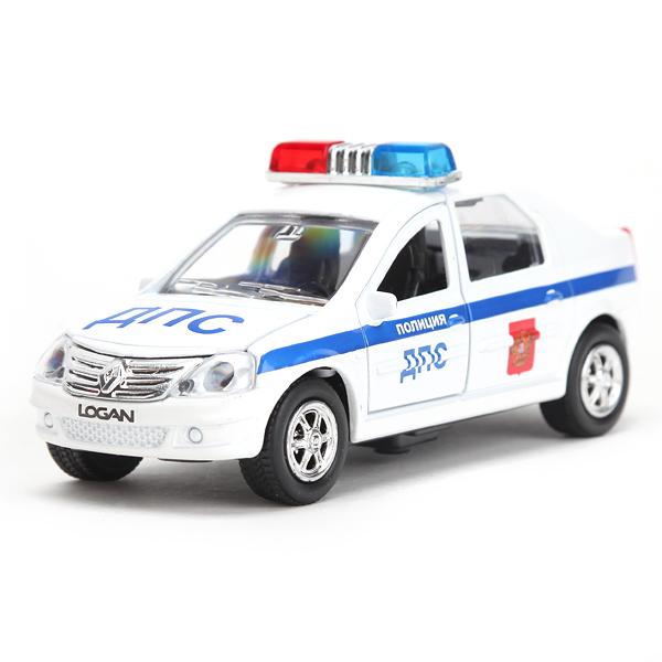 Купить Машинка металлическая инерционная Renault Logan ДПС, 1:43, свет и звук, Технопарк