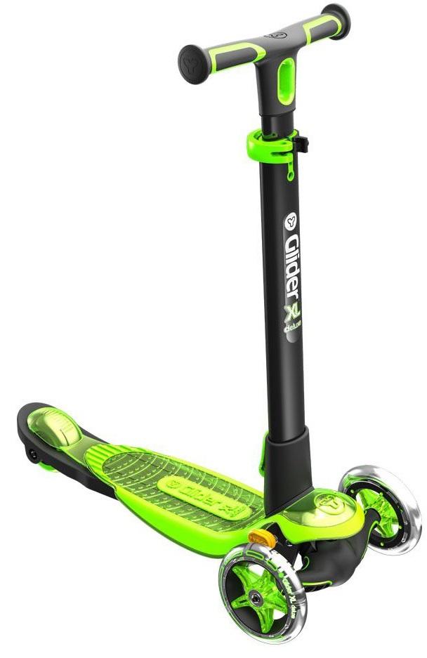 Самокат Yvolution Y Glider XL Deluxe, черно-зеленый