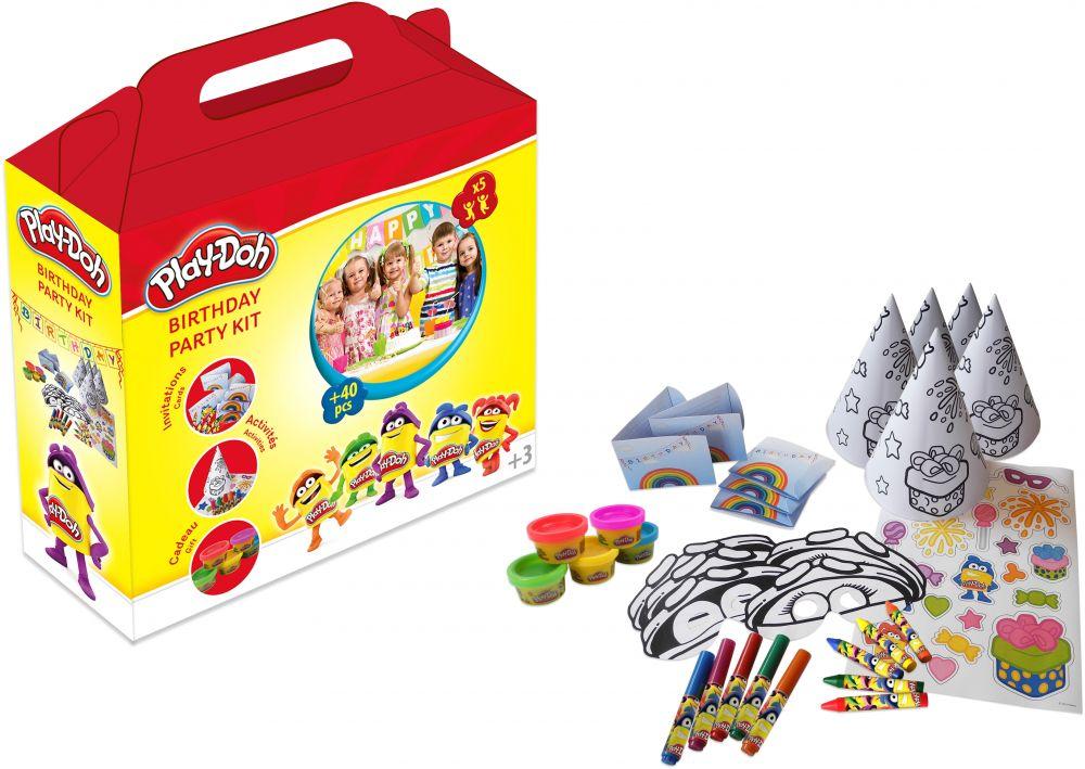 Набор из серии Play doh - Вечеринка, 5 маркеров, 5 восковых мелков, 5 наклеек, 5 разноцветных колпаков и масок, 5 воздушных шаров