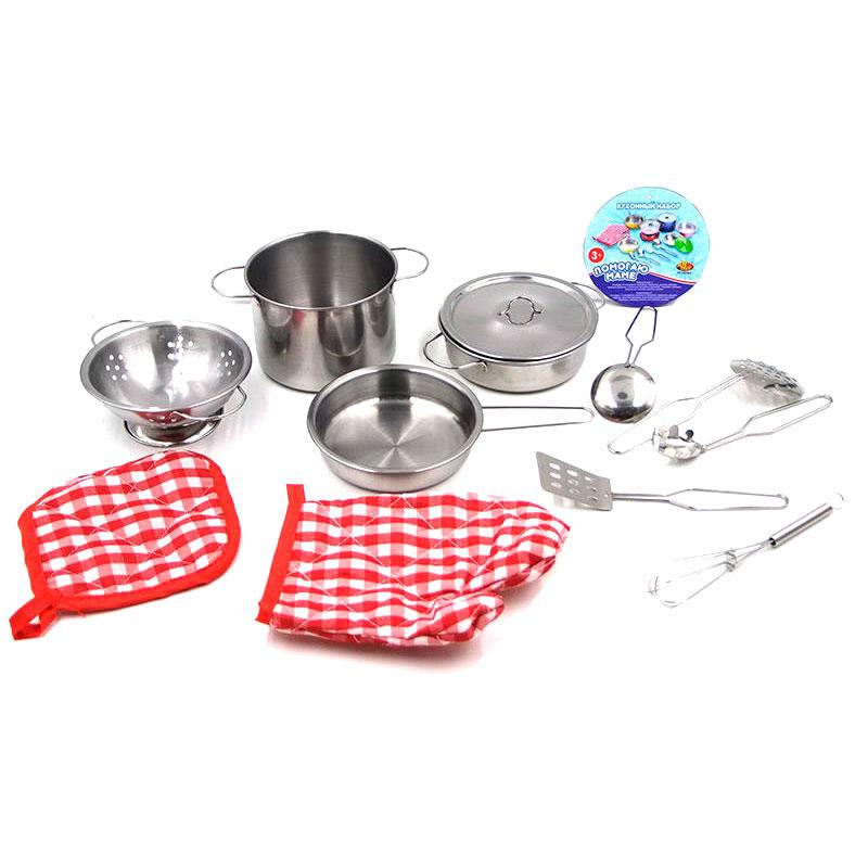 Помогаю Маме. Набор посуды металлической для кухниАксессуары и техника для детской кухни<br>Помогаю Маме. Набор посуды металлической для кухни<br>