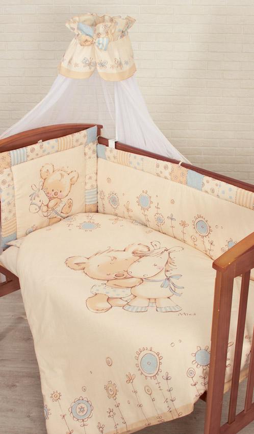 Комплект в кроватку – Mika, 7 предметов, голубойДетское постельное белье<br>Комплект в кроватку – Mika, 7 предметов, голубой<br>