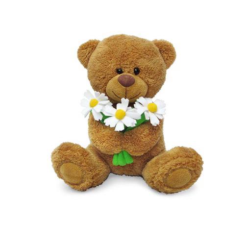 Мягкая игрушка - Медвежонок Сэмми с ромашками, музыкальный, 18 см