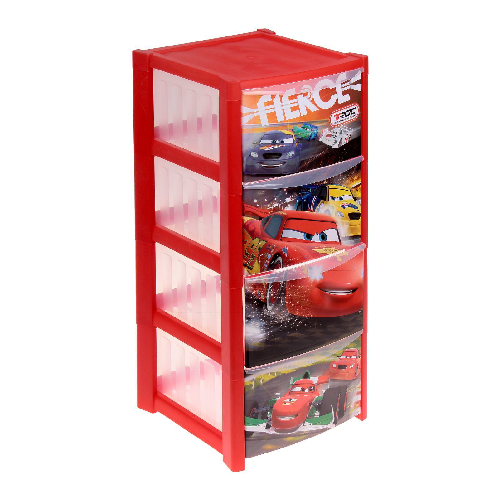 Комод Disney 4 секции, красныйКорзины для игрушек<br>Комод Disney 4 секции, красный<br>