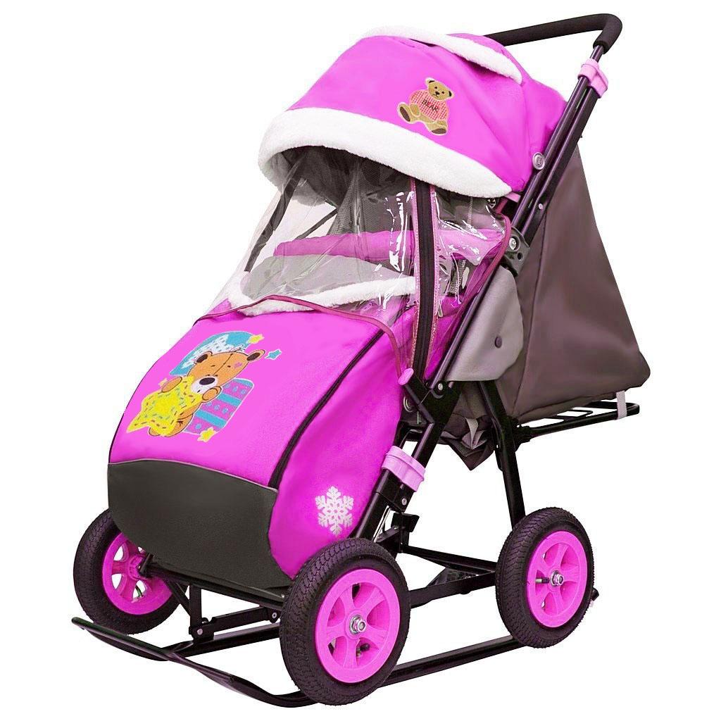 Купить Санки-коляска Snow Galaxy City-1-1 - Мишка со звездой на розовом, на больших надувных колесах, сумка, варежки, RT