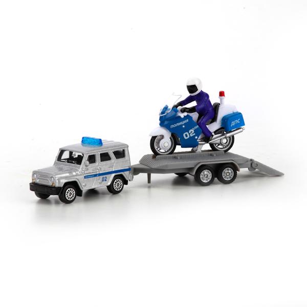 Купить Игровой набор Полиция УАЗ с мотоциклом на прицепе, Технопарк