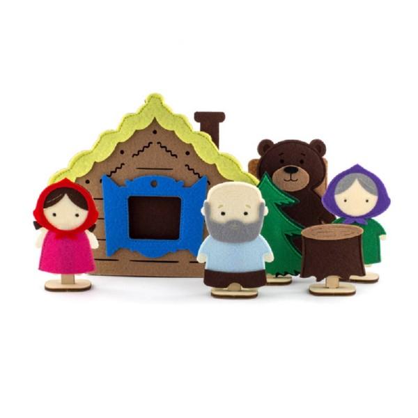 Пальчиковый театр - сказка Маша и Медведь, герои+домик фото